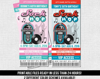 50's TICKET INVITATION Retro Sock Hop Birthday or Anniversary Party - Any Age - (print your own) Personalized Printable Files