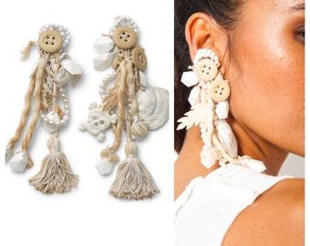 S.A.L.E was 400 now 350 super rare vintage 80s JUDY BLAME found object bead pearl tassel dangle chandelier earrings