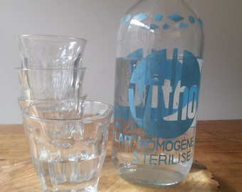 Vintage French glass milk bottle from the 1960's