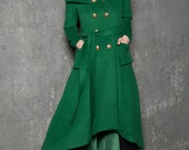 Green Long Coat - Emerald Capelet Designer Tailored Handmade Double-Breasted Asymmetrical Unique Woman's Coat C714
