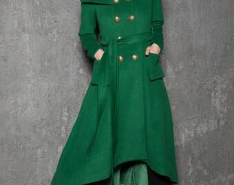 Green Long Coat, Emerald Capelet Coat, Designer Tailored Handmade Double-Breasted Asymmetrical Unique Woman's Coat, Winter Coat C714