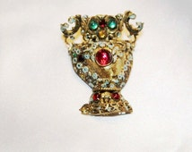 Exceptional Vintage Signed Czech GRIPOIX Ornate BRASS Brooch BD