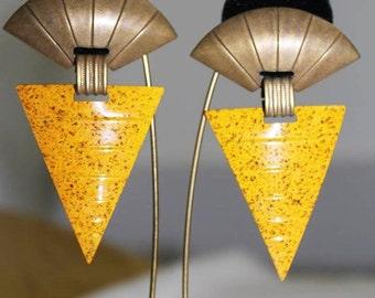 Magnificent Vintage Art Deco Revival GEOMETRIC BRASS Earrings EM