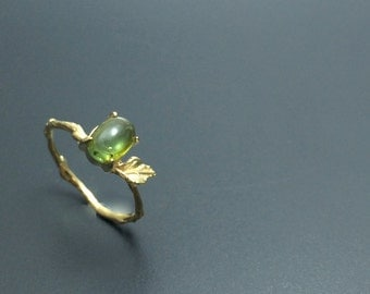 tourmaline ring branch ring vermeil twig ring