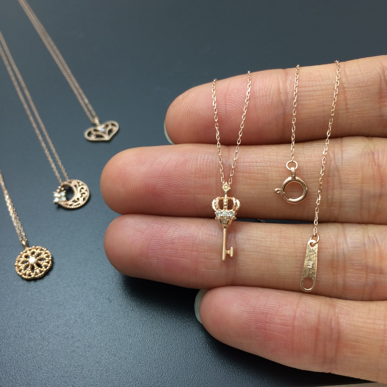 reserved item gold key pendant dainty diamond necklace. Black Bedroom Furniture Sets. Home Design Ideas