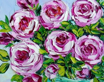 Pink Rose Oil Painting Flower Floral Still Life Art Textured Palette Knife Impasto For Her Wedding Cottage Chic Small Canvas 8x8