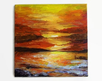 "Original Abstract Sea Seascape Ocean Beach Sunset Painting Acrylic Textured Palette Knife Impasto Small 6x6"" Canvas Panel"