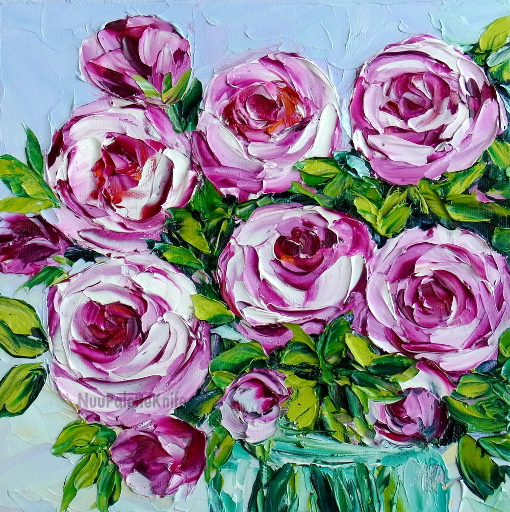 Pink rose oil painting flower floral still life art textured for How to oil paint flowers