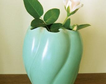 Stangl Vase - Matte Green Stangl Pottery Vase - Stangl Vase 3034 - Satin Finish Light Blue Green Retro Vase - Turquoise Vintage Stangl Vase