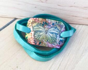 Butterfly decoupage teal deer skin lace soft leather wrap bracelet