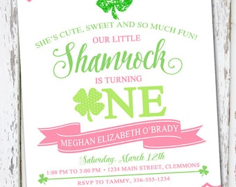 Shamrock Birthday Invite, Shamrock 1st Birthday, St Patrick's Day invite