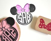 Minnie Monogram Rubber Stamp with accent bow stamp, Customized handmade