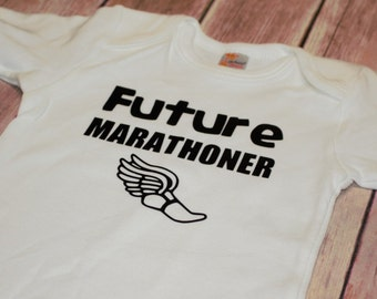 Future Marathoner bodysuit / one piece / creeper with flying shoe (Marathon, Running)