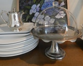 Silver Pastry Stand.Glass Dome Top. Cottage Decor. Kitchen. Cafe
