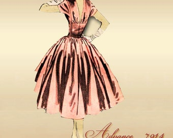 Advance 7914 Anne Fogarty 1950s Designer Dress Pattern with Voluminous Rockabilly Skirt Uncut Factory Folded Bust 34