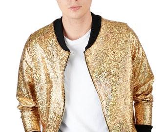 Men's Gold Disco Bomber Jacket