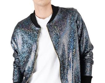 Men's Black Disco Bomber Jacket