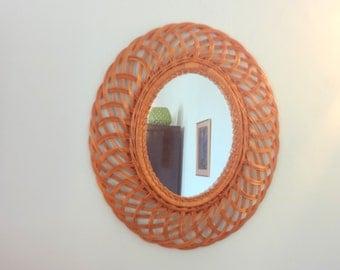 Large Vintage Oval French Mid Century SUNBURST Rattan Mirror . The Ultimate Design Statement - Vintage Decor