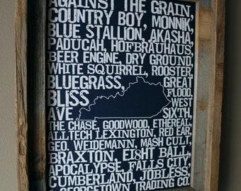 Beers of Kentucky Word Map (Dark Blue) - Unframed