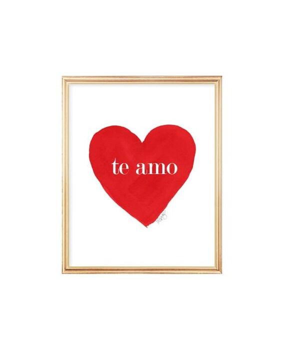 Te Amo, Red Watercolor Print, Spanish Language Art, Love Quote, Spanish Nursery Art, Red Nursery Decor, Red Nursery Art, Te Amo Heart