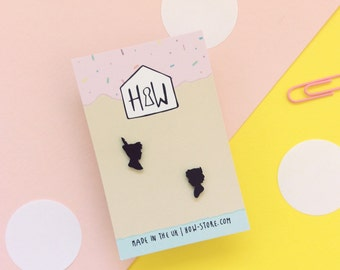 Peter & Wendy Stud Earrings: monochrome silhouette earrings for her, best friend or Peter Pan enthusiasts!