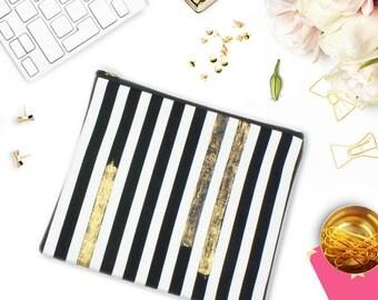 Striped Zipper Pouch Kindle Case Gold Foil Canvas Bag