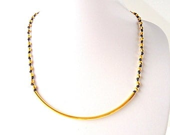 Tube Necklace, gold necklace, knotted necklace, black cord necklace, minimalist necklace, modern jewelry, geometric necklace, black and gold