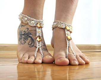 Gold Barefoot Sandals- Foot Jewelry- Footless Sandals- Barefoot Wedding Sandal- Beach Wedding- Sparkling barefoot shoes, beaded sandals