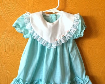 vintage turquoise baby girl dress, lace, ruffles, roses, spring pastels,easter dress Size 6/12M