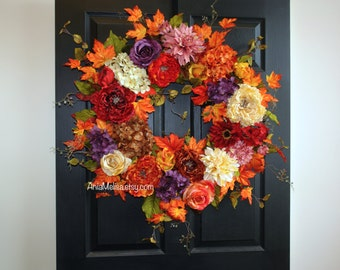 fall wreath 30'' Thanksgiving wreaths for front door wreaths autumn outdoor decor orange fall wreaths luxury closing gifts for realtors