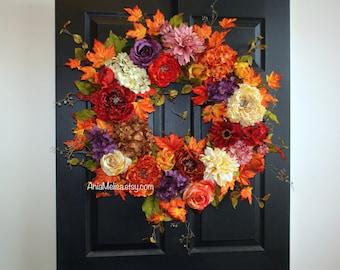 fall wreath 30'' Thanksgiving wreaths autumn wreaths for front door wreaths outdoor decor handmade orange fall wreaths