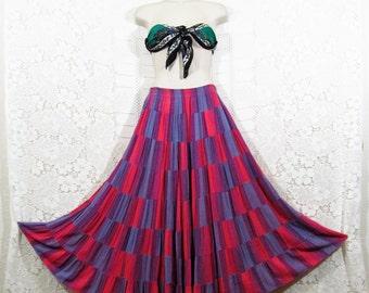 Vtg 90s Patchwork Peasant Gypsy Bohemian Festival Maxi Skirt by Bila sz L