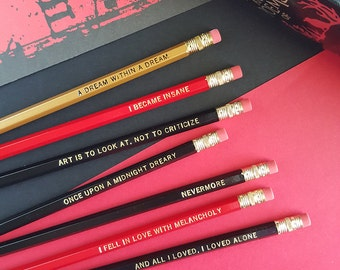 Edgar Allan Poe Pencil Set — 7 Engraved Pencils, Nevermore, Once Upon a Midnight Dreary, Dream Within a Dream, All I loved, I loved alone