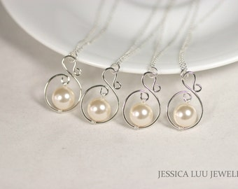 Set of 4-10 Bridal Pearl Necklaces Ivory Pearl Necklaces Bridal Necklace Bridesmaid Jewelry Bridesmaids Necklaces Bridesmaids Gifts Bridal