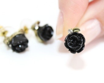 Black Rose Stud Earring, Rhinstone Post earrings, Antiqued brass, Minimal, Affordable Small Simple, Cheap cute gift for her