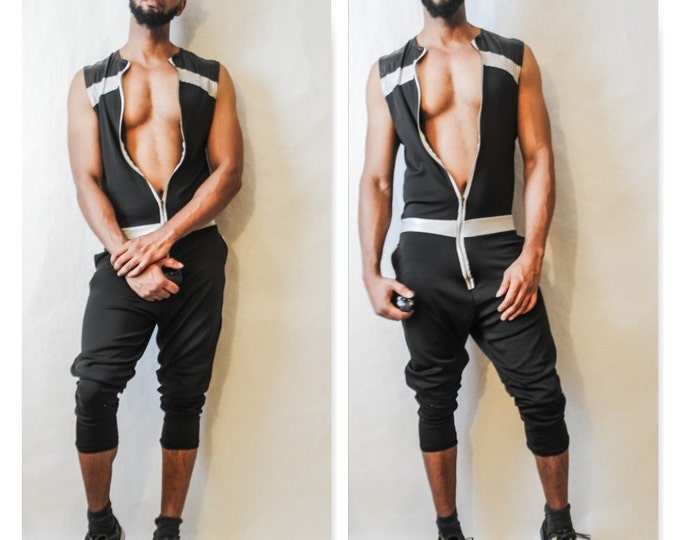 Neoprene Jumpsuit  Zipper Front Sleevess Jumpsuit Adidas Cut Pant Athletic Cut