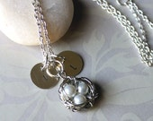 Lovely Birds Nest- Wire Wrapped -Pearls- Hand Stamp Personalize