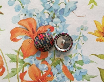 Button Earrings / Wholesale / Mosaic / Small Stud Earrings / Fabric Covered / Made in America / Unique Gifts / Bridesmaids Jewelry