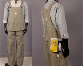 Hickory Stripe Overalls -- Mens Vintage Workwear -- 1960s Pennys Big Mac Square Bak Deadstock Button Fly Overalls -- NOS NWT 40 x 30