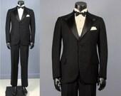 Mens Tuxedo -- 1920s 1930s Black Wool Peaked Lapel Tuxedo --Size 35/36