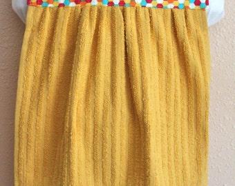 Bib for Baby or Toddler - Towel Bib - yellow, pokadots