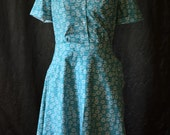 State Fair 1935 / Summer Dresses / Vintage Dresses for Women / Retro Dress / Women's Dresses / Turquoise / Cotton Dress / Unique Dress