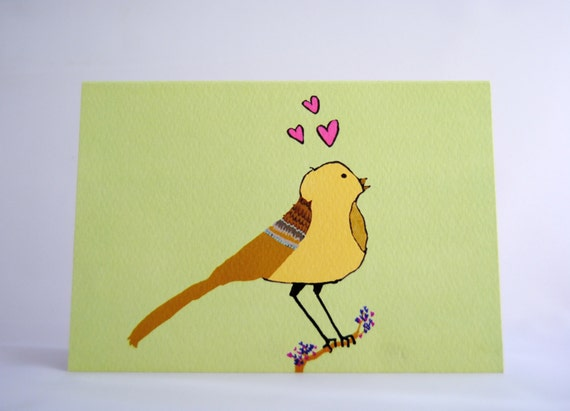 3 Pack - Love Bird Greeting/Illustrations Card (love / anniversary / all occasions)
