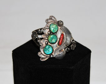 1970s Sterling Silver Turquoise Coral Art Nouveau Cuff Bracelet