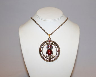 1970s Huge Coral Gold Owl Pendant Necklace