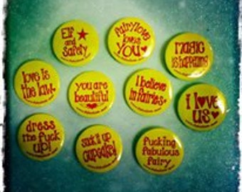 Pack of 4. Fairylove badges. Yellow and Magenta. 10 designs.