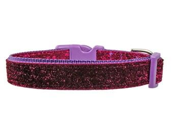"""Sparkle 3/4"""" Shocking Pink Glitter Purple Dog Collar"""