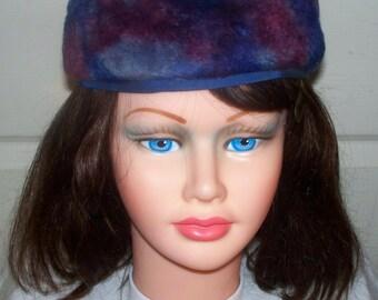 1960s Faux Fur Pillbox Hat  - Excellent Condition - Blue - Saks Fifth Avenue