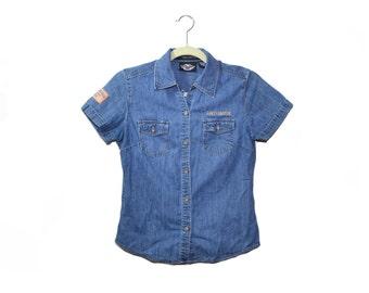 Vintage Harley Davidson Shirt Harley Denim Shirt Blue Denim Shirt Harley Shirt Motorcycle Shirt V Twin Size Small
