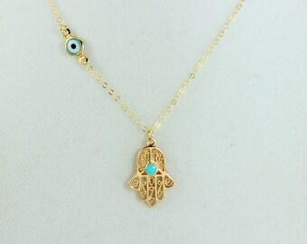 Hamsa Necklace Aqua Blue Evil Eye Pendant Gold Filled Murano Glass Aqua Turquoise Eyes Women Hand of Fatima Kaballah Protection Jewelry